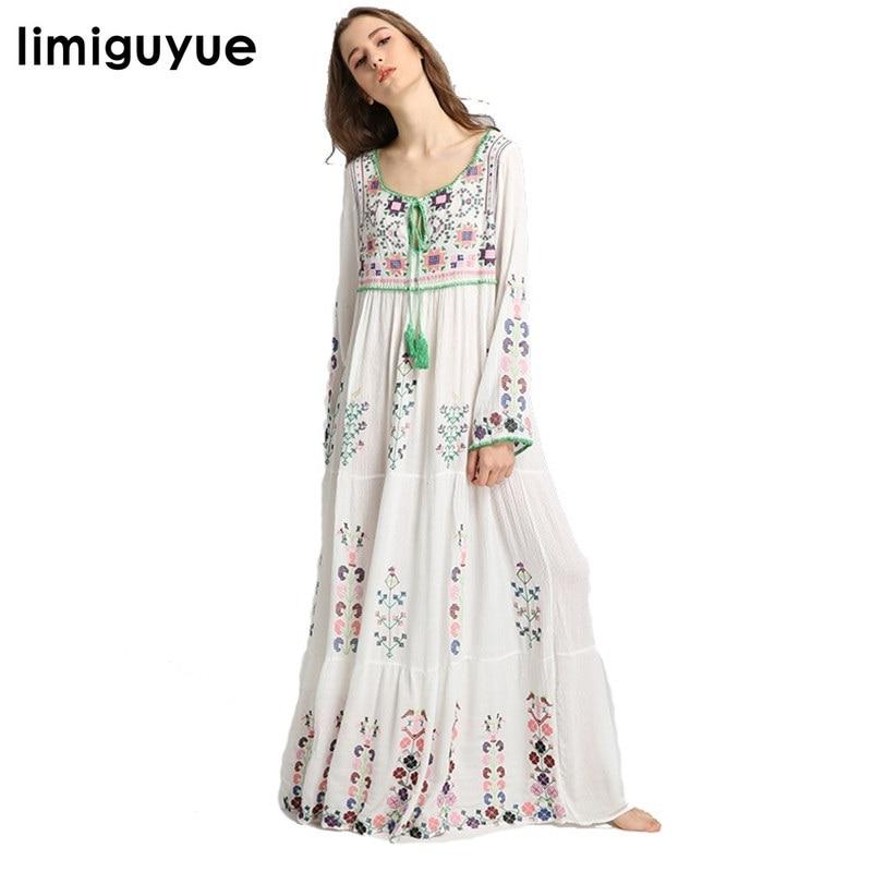 3c07ffaf243e2 Navy Ethnic Floral Maxi Dress Women Summer Clothes 2019 3/4 Sleeve V ...