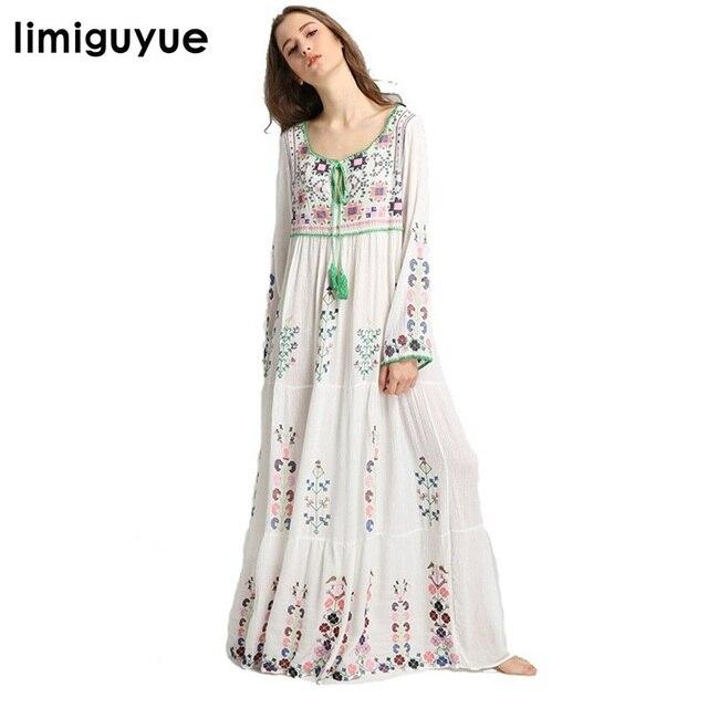 2a51154f63 Limiguyue floral bordado mexicano vestido de las mujeres blanco maxi largo  borla piso longitud vestido boho