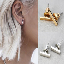 Punk Style Simple T Bar Earrings Stud Earrings Punk Ear Jewelry Rock Gothic Unisex Ear Stud Fine Jewelry(China)