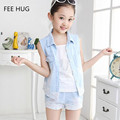 2016 Fashion Girls Jean Short Sleeve Clothes Set girls denim vest clothing set kids lace vest waistcoat shorts set