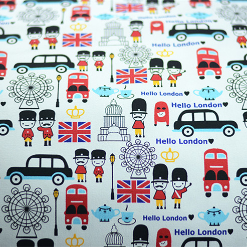 90x140cm 1yard Cute Uk Cartoon Cotton Polyester Canvas Fabric Sewing Material Upholstery Telas Para Sofas