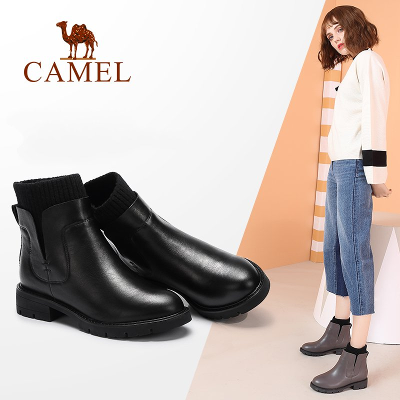 CAMEL Women Boots Winter 2018 Leather Short Boots British Style Short Boots Shoes Women Flat Heel Round Head Boots round flat bottomed sweet bowknot short boots