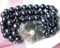 Free Shipping 3 Rows 8 Inches Cultured 7 8mm Black Freshwater Pearl Bracelet Shell Flower Clasp