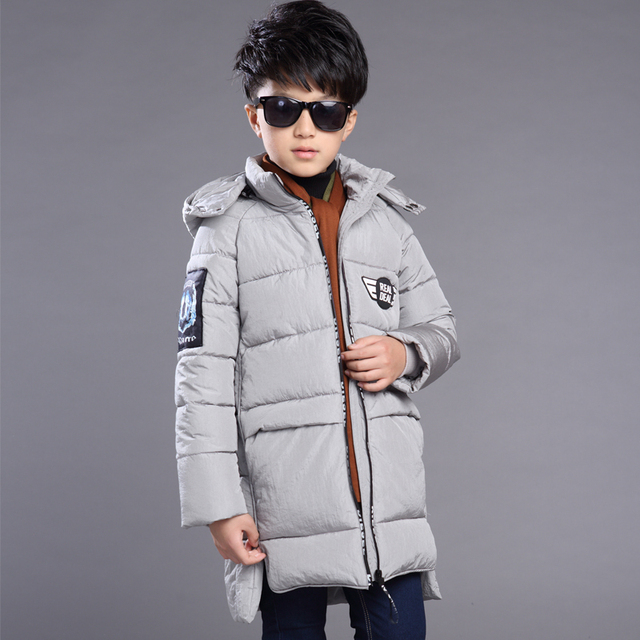 2016 Children Winter Jackets for Boys White Duck Down Jackets Thick Warm Outerwear with Hooded Long Children's Coat