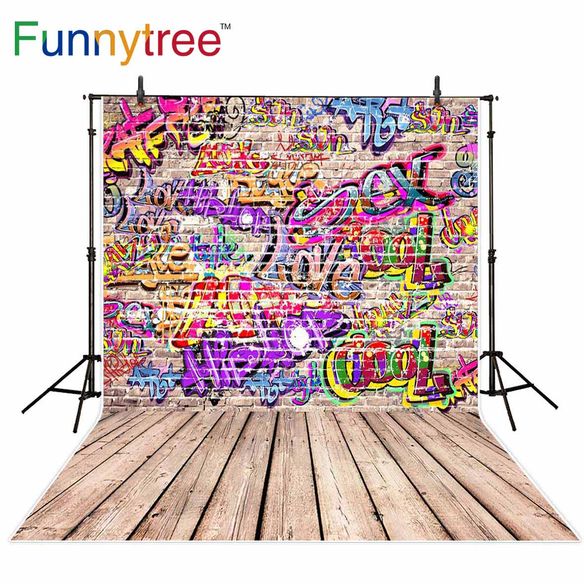 Funnytree backdrop for photographic studio Graffiti brick wall wood floor letter vintage professional background photobooth