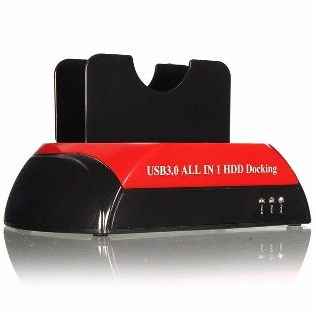 Todo-en-uno 1 2.5 '' 3.5 '' Dual USB 3.0 SATA IDE caja disco duro externo de muelle de la estación del lector de tarjetas del eje OTB Storage Enclosure para