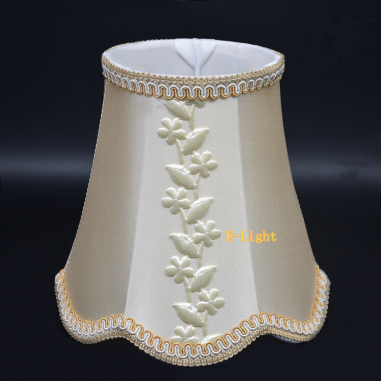 Beige Leaves Mini Lamp Shade Elegant Fabric Lampshades Covers Fitting For  E14 Lamp Holder For Chandelier