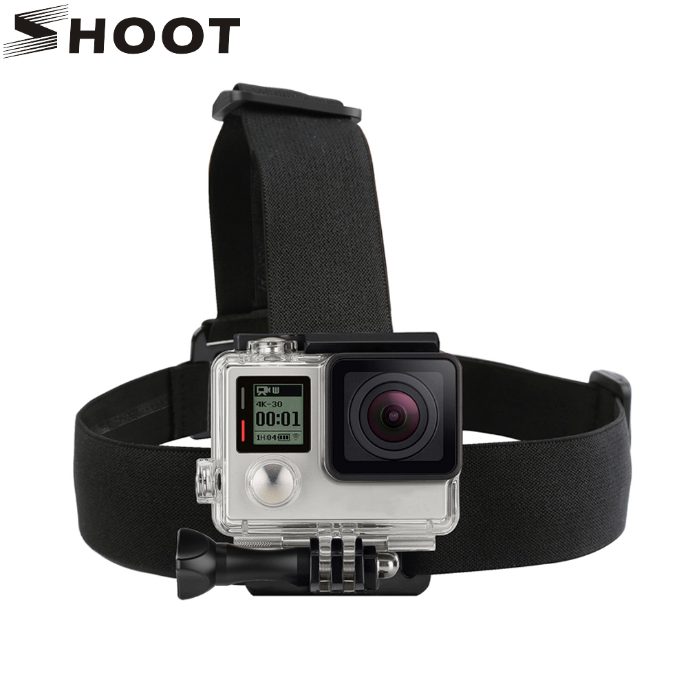 SHOOT Elastic Harness Head Strap For GoPro Hero 5 3 4 Session SJCAM SJ4000 SJ5000 Xiaoyi Yi 4K Camera Mount for Go Pro Accessory shoot aluminum alloy thumb knob bolt nut screw mount for gopro hero 5 4 3 xiaomi yi 4k sjcam sj4000 h9 mount go pro accessory