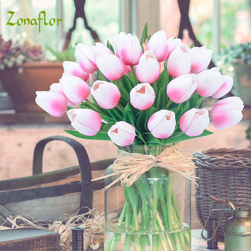 Zonaflor 5/11 / 21pcs / lot Tulip Artificial Flower 2019 Real Touch PU boda flores decoración para el hogar ramo flores decorativas falsas