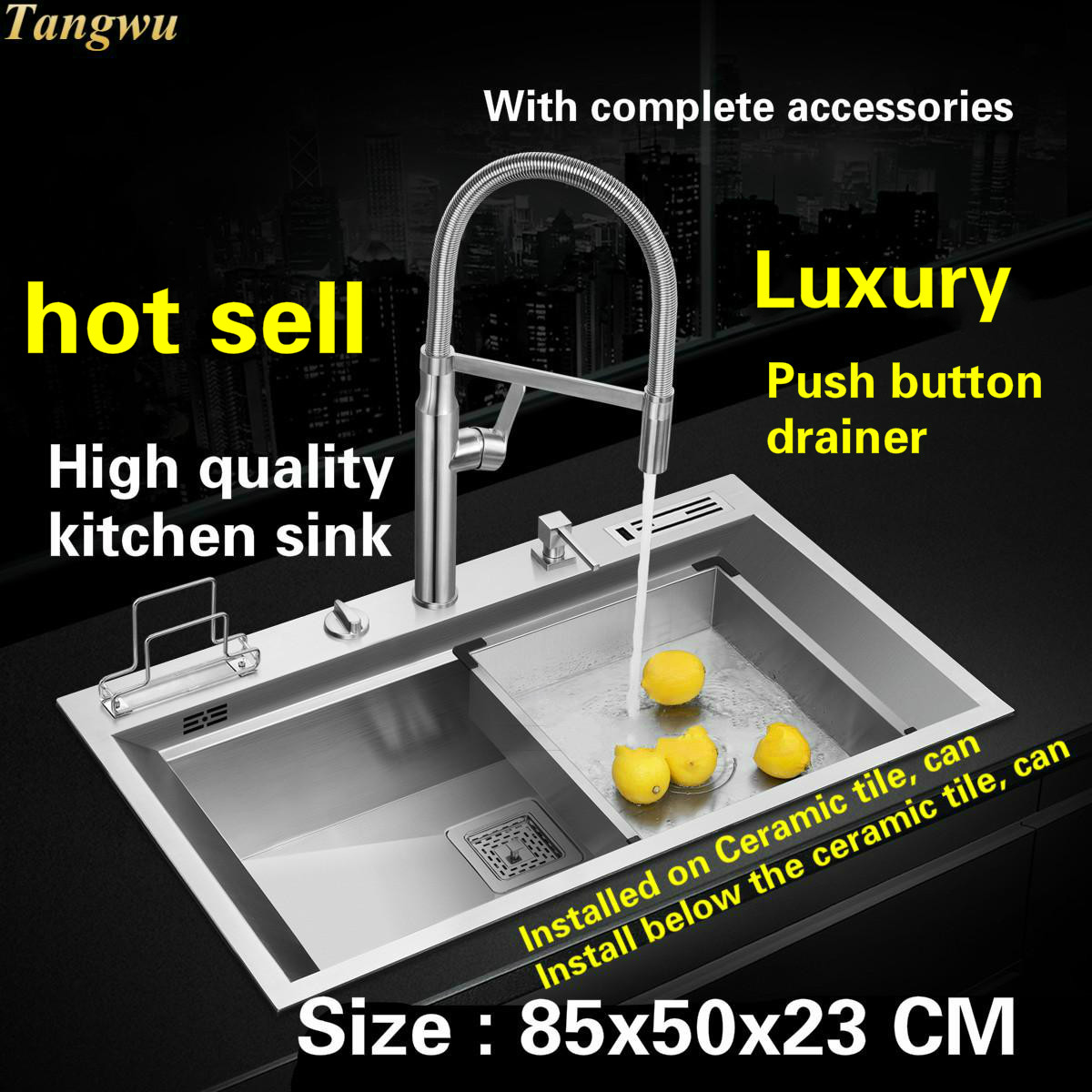 Tangwu High Quality Kitchen Sink 4 Mm  Food Grade 304 Stainless Steel Mesa Control The Drainage Manual Single Slot   85x50x23 CM