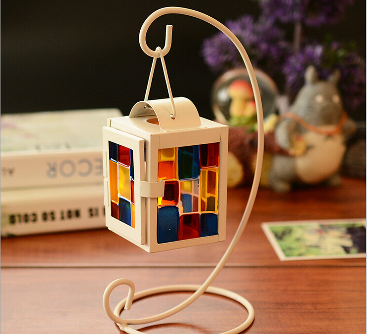 Rustic Wooden Tea Light Holder Free Shipping: Free Shipping!White Color Candle Holder With Colorful