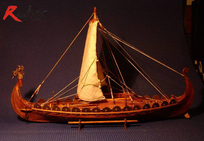 RealTS Classic Wooden Scale Sailing Boat Wood Scale Ship 1/50 Viking Ships Scale Assembly Model Ship Building Kit Scale Boat