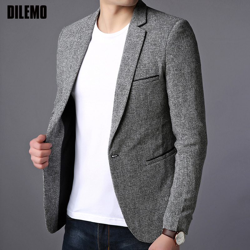 2020 New Fashion Brand Blazer Jacket Men Single Button Slim Fit Suit Coat Korean Black Dress Jacket Party Casual Men Clothes