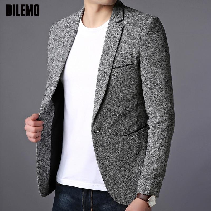 2020 New Fashion Brand Blazer Jacket Men Single Button Slim Fit Suit Coat Korean Black Dress Jacket Party Casual Men Clothes