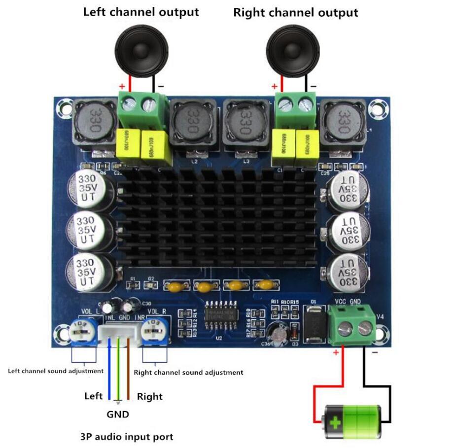 XH-M543 DC 12 В 24 В 120 Вт + 120 Вт TPA3116 D2 цифровой Мощность аудио усилитель доска C3-002
