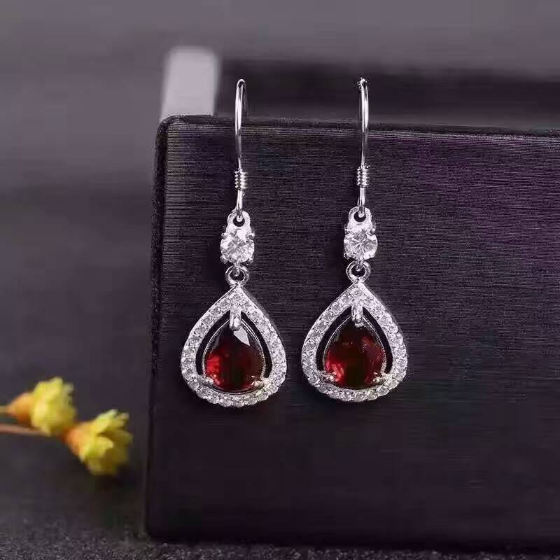 natural red garnet stone drop earrings 925 silver Natural gemstone earring women personality water drop Earrings for party natural stone geometry drop earrings page 9