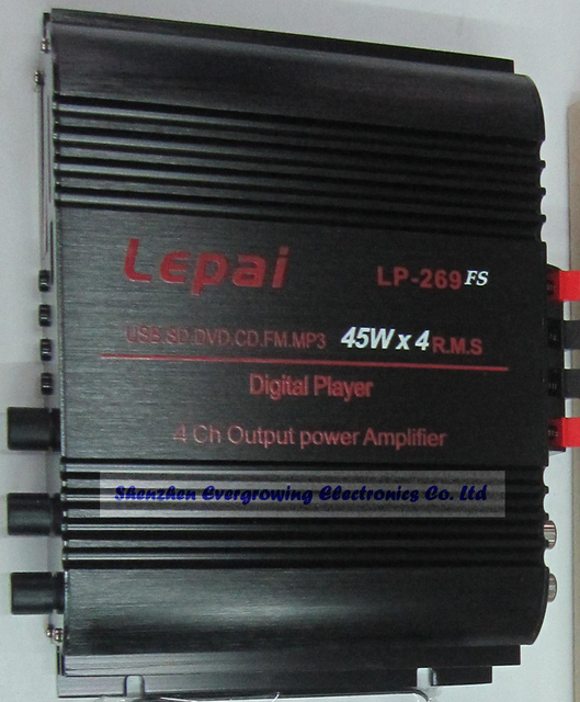 2013 New Lepai LP-269 Amplifier 4 Channel USB FM MMC MINI Digital Stereo Power Amplifier LP269 with Power Supply EG2004