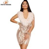 Tarde Del Partido Del Club Elegante Vaina Feather Lentejuelas Vestido 2018 Mujeres Vestidos Mujer Sexy Vestidos de Noche de Oro Mini Vestido