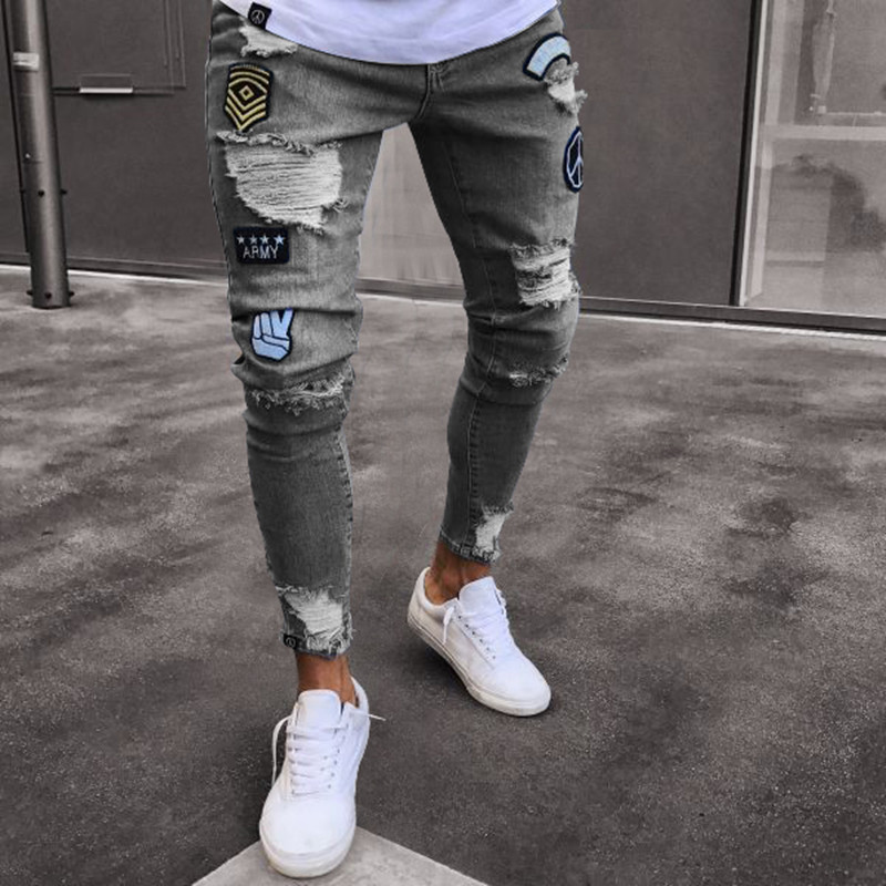 Arrow Car Men Ripped Skinny Biker   Jeans   Destroyed Frayed Print Embroidery Slim Fit Denim Pant   Jean   For M