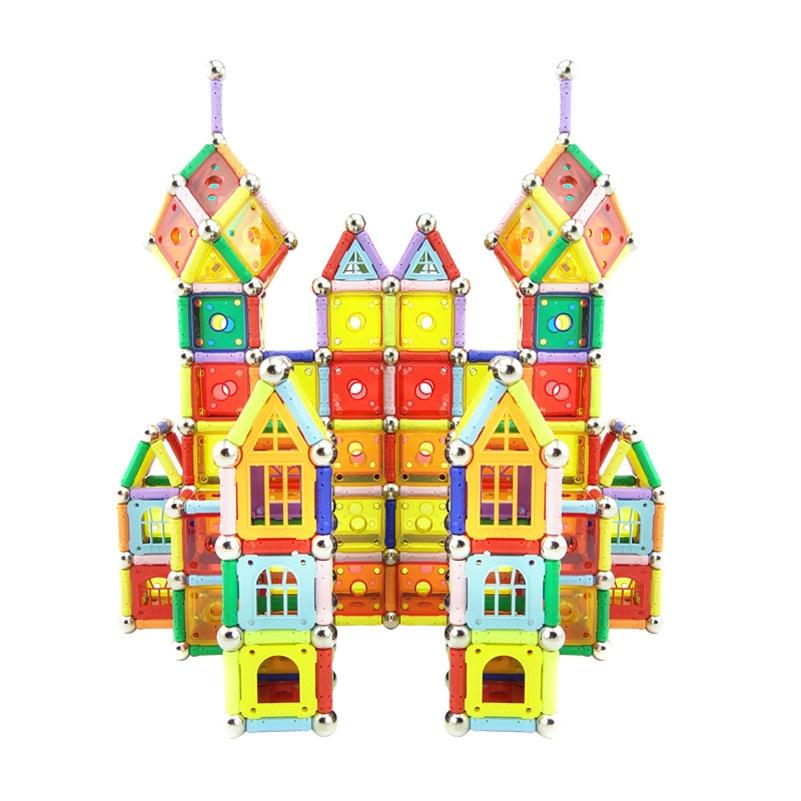 108st Magnetic Building Blocks Leksaker Plast DIY Block Bricks Magnetic Toy Magic Modell Byggsatser Creative Gifts
