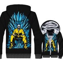 Breaking Bad Jacket Heisenberg Hoodie Men Funny Walter White Sweatshirt Winter Thick Fleece 3D Print Movie Coat Cool Streetwear