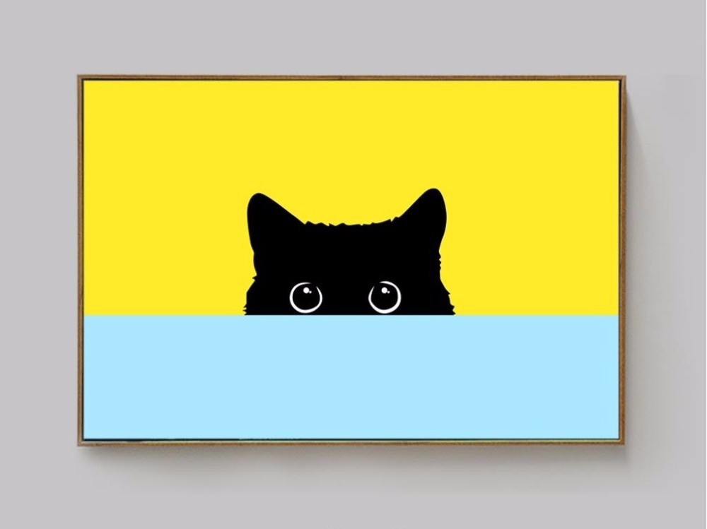 Nordic Simple Cute Cat Decorative Paintings Children S Room Hanging Unframed Spray Painting Paintingcute Aliexpress
