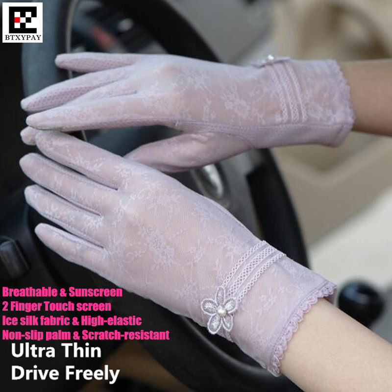 1000p Women Summer Ultra Thin 2-Finger Touch Screen Gloves,High-elastic Ice Silk Lace Embroidery Sunscreen Anti-UV Beauty Gloves