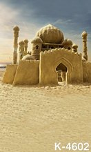Computer Printed Seaside Beach Built Castle Children Background Photographic For Photo Props Vinyl Studio Backdrops 150x200cm