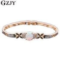 Fashion Elegant White Fire Opal AAA Cubic Zirconia Gold Platinum Plated Bracelet Bangles Jewelry Hot