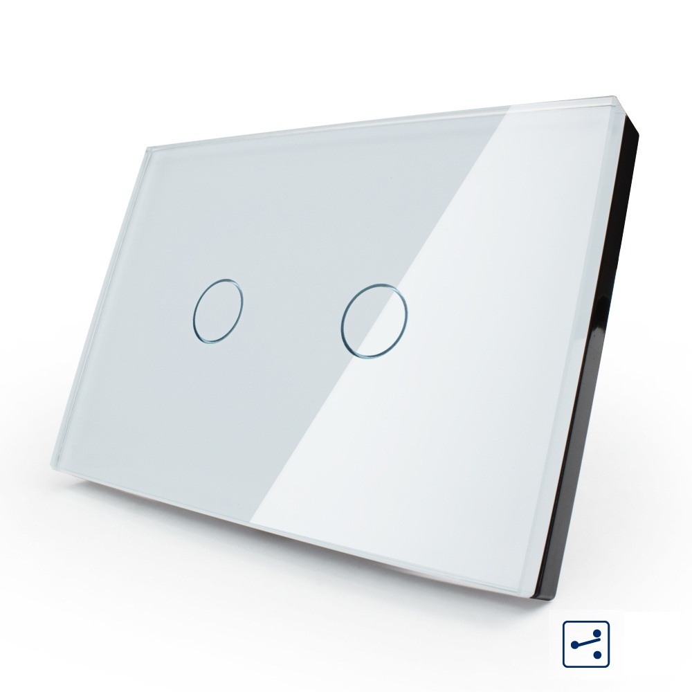 Smart Wall Switch 2 Gang 2 Way White Glass Panel Us Au