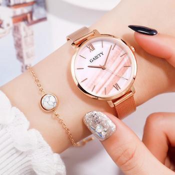 Gaiety Luxury 2 PCS Set Watch Women Rose Gold Water Drill Bracelet Watch Jewelry Ladies Female Hour Casual Quartz Wristwatches 9