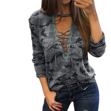 Women Camouflage Sweatshirt V-Neck Hoodies Pullovers Female Long Sleeve Bandage Tracksuits Jumper Tops Sudaderas Mujer