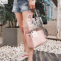 Razaly brand summer designer high quality pvc beach clear large bucket tote transparent chain big handbag small leather purses