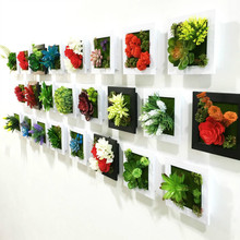 NEW 3D Handmade metope succulent plants Imitation wood photo frame wall decoration artificial flowers home decor
