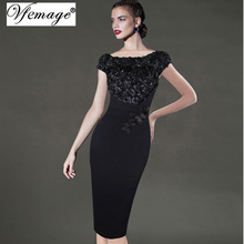Vfemage Womens Elegant Floral Applique Party Special Occasion Bridesmaid Mother of Bride Pencil Bodycon Dress 3997