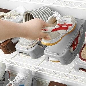 Image 3 - Plastic Double Shoebox Shoe Storage Shelf Shoe Rack Double Shoes Organizer Household Adjustable Storage Holders For Living Room