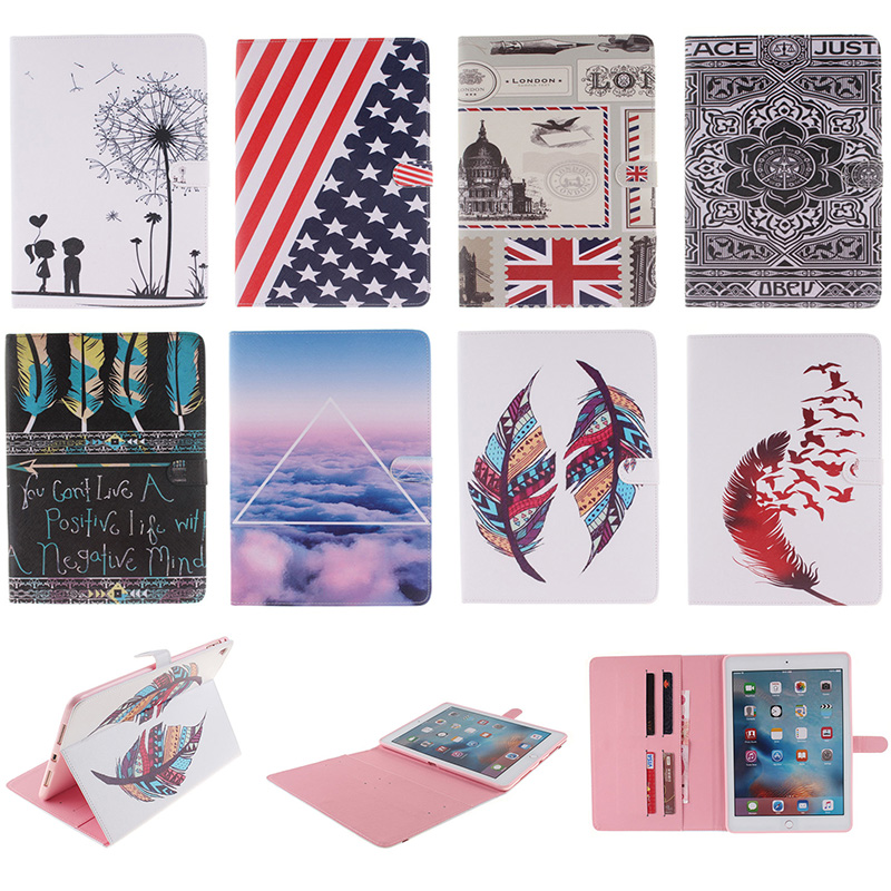 Fashion Feather Lotus Cloud Pattern PU Leather Flip Wallet Case For Apple iPad Pro 9.7 Back Cover Coque For iPad Pro mini 9.7