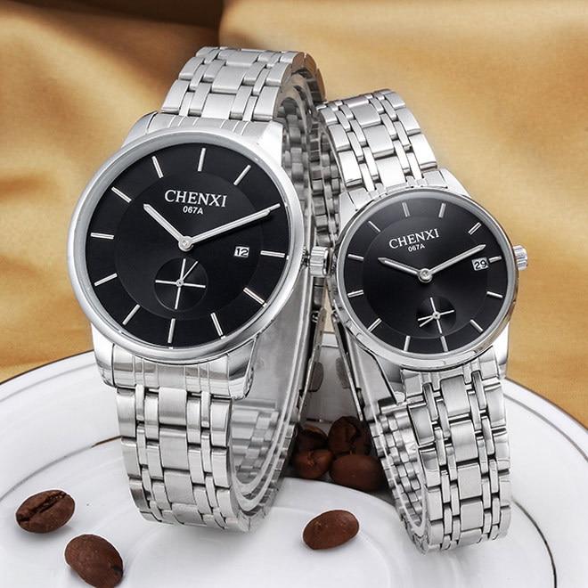 2018 CHENXI Brand Dual Dials Dress Watches Men Women Quartz Silver Plated Steel Wristwatches With Calendar Waterproof Watch 067A