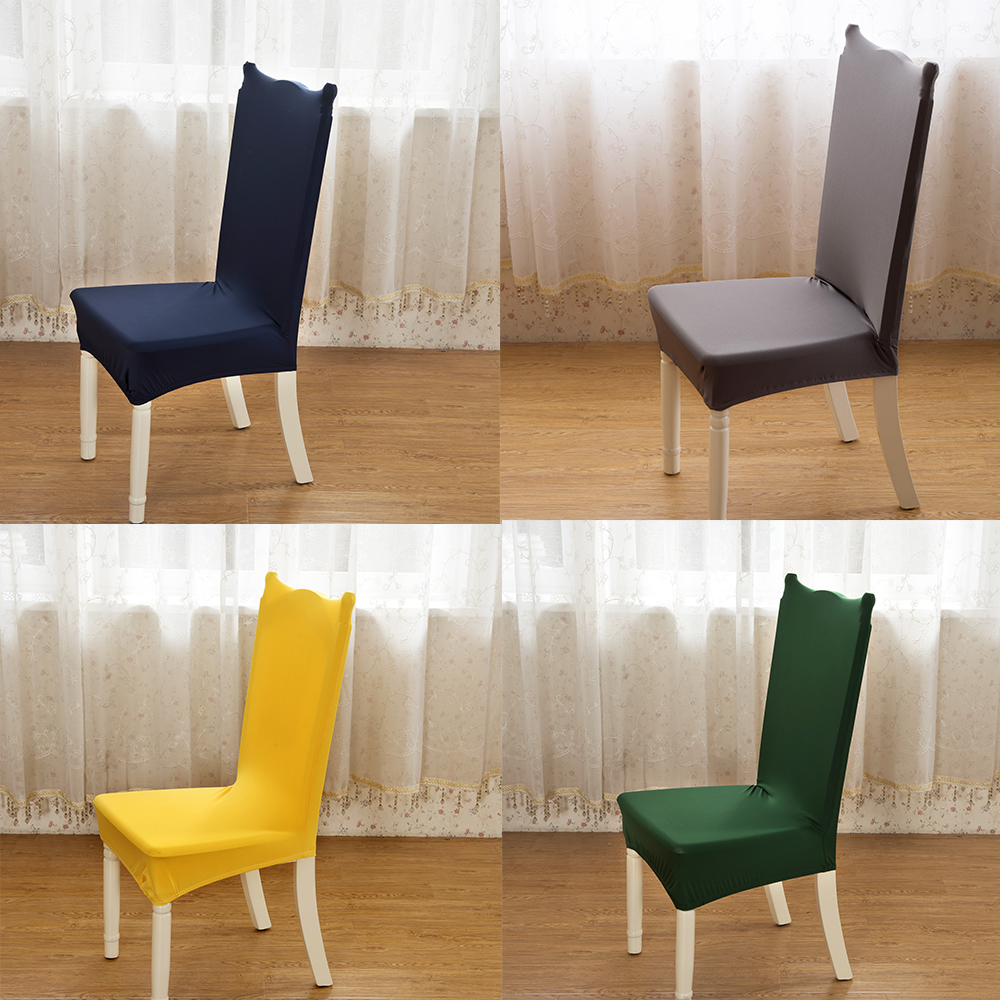 24 Solid Color Polyester Spandex Dining Chair Covers For ...