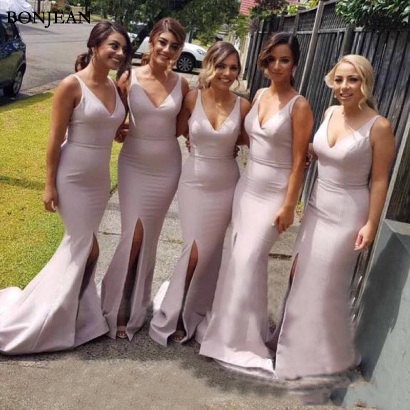 Cheap Satin Sexy V Neck Long Mermaid Country Bridesmaid Dresses Side Split Floor Length Maid Of Honor Gowns Wedding Guest Dress