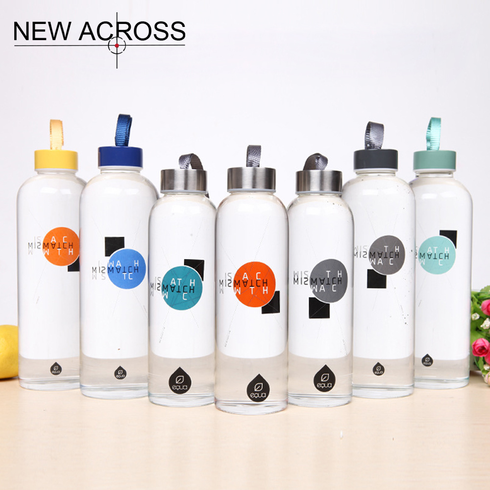 JUH 1Pcs Straight Tube Shape Sport Water Bottle With Convenient Hand Rope Gift Advertising Glass Bottle