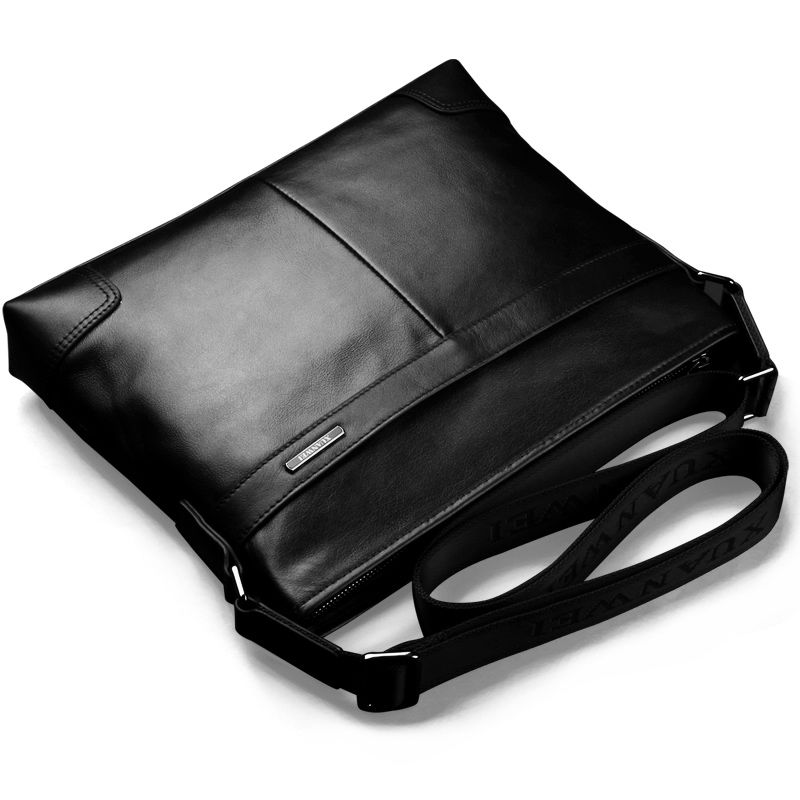 100% Head Abortive Calfskin Messenger Bags Black Genuine Leather Business Briefcase Fashion Men Shoulder & Crossbody Bags(XW117)