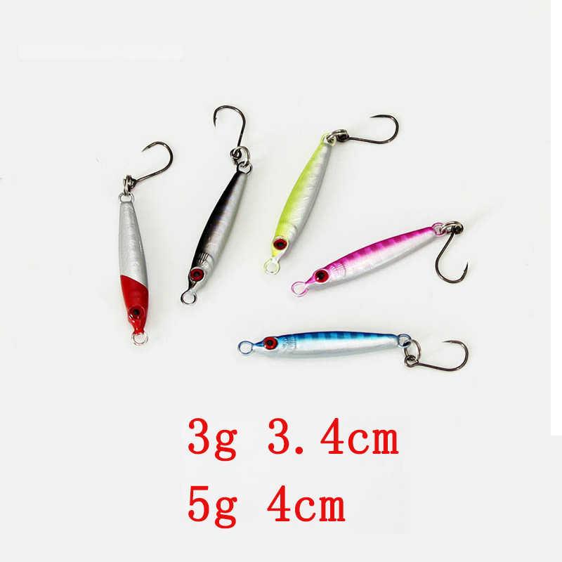iLure 5 Pcs/lot New Metal Jig Spoon 3g/5g Artificial Bait Shore Fishing Jigging Super Hard Lead Fish Sea Bass Fishing Lure Pesca