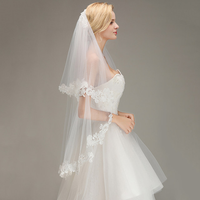 Voile-Mariage-Cheap-Lace-Edge-Short-Ivory-Wedding-Veil-with-Comb-Two-Layers-Tulle-Bridal-Veil (4)