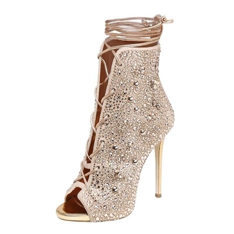 В римском стиле с украшениями в виде кристаллов босоножки на высоком каблуке пикантные женские летние в европейском и американском стиле н...
