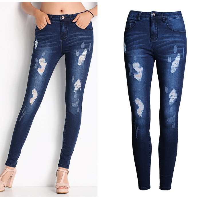 2053 New 2017 Hot Fashion Ladies Cotton Denim Pants Stretch Womens Bleach Ripped Skinny Jeans