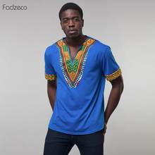 Fadzeco African Men Clothes Print V Collar Men Shirt Dashiki Ethnic pattern Printting Embroidery African Casual Clothing Skirt(China)