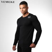 YEMEME Men's  T Shirt in brand clothing  men Spring Autumn Fashion Solid 100% Cotton Top Tee fashion new T-shirt