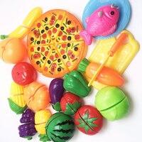 Fingir Jogar 24 pçs/set Clássico Acessórios de Cozinha DIY Brinquedos para Crianças Crianças De Corte Frutas E Legumes Brinquedos de Plástico Alimentar