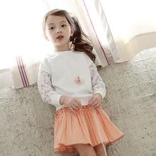 Mignon Dentelle filles T-shirt Automne printemps Enfants Chemise longue manches coton patchwork Bébé Fille Vêtements blanc casual blouse vêtements top